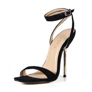 Velvet Stiletto Heel Sandals Slingbacks With Buckle shoes (0875100485)