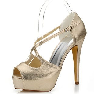 PU Stiletto Heel Peep Toe Platform Sandals With Buckle