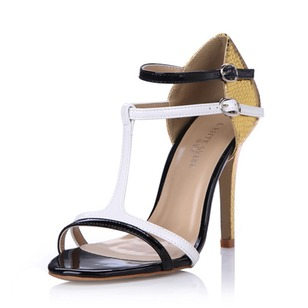 Leatherette Stiletto Heel Sandals Pumps Peep Toe With Zipper shoes