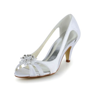 Women's Satin Stiletto Heel Peep Toe Pumps With Beading Imitation Pearl