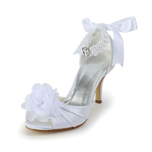 Women's Satin Stiletto Heel Peep Toe Pumps With Bowknot Ribbon Tie