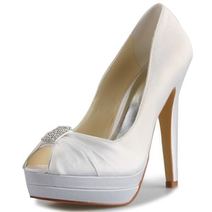 Women's Satin Stiletto Heel Peep Toe Platform Pumps With Rhinestone