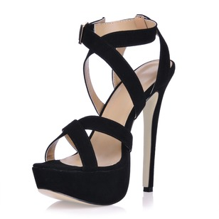 Suede Stiletto Heel Sandals Platform Peep Toe shoes