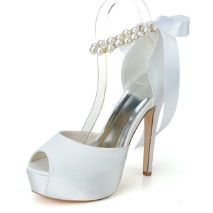 Women's Satin Stiletto Heel Peep Toe Platform Pumps With Bowknot Imitation Pearl