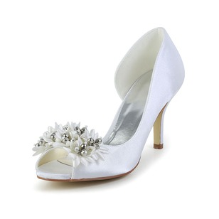 Women's Satin Stiletto Heel Peep Toe Pumps With Satin Flower