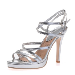 Leatherette Stiletto Heel Peep Toe Platform Sandals With Buckle