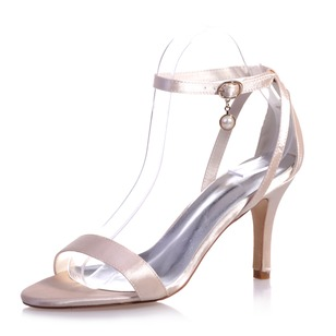 Women's Satin Stiletto Heel Peep Toe Sandals With Buckle Imitation Pearl