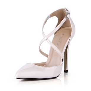 Patent Leather Stiletto Heel Pumps Closed Toe With Buckle shoes (0855100554)
