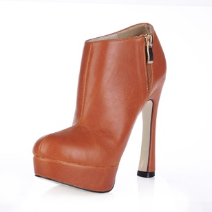 Leatherette Spool Heel Platform Closed Toe Ankle Boots shoes