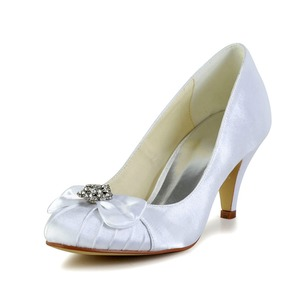 Women's Satin Stiletto Heel Closed Toe Pumps With Bowknot Rhinestone Ruched