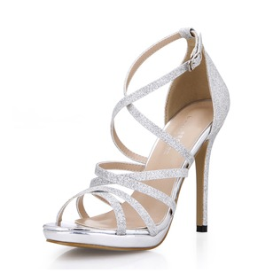 Sparkling Glitter Stiletto Heel Sandals Peep Toe shoes