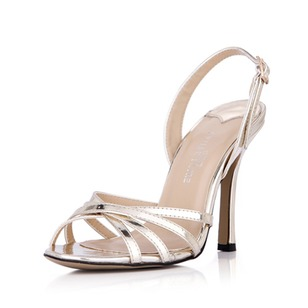 Leatherette Patent Leather Stiletto Heel Sandals Pumps Peep Toe Slingbacks With Buckle shoes