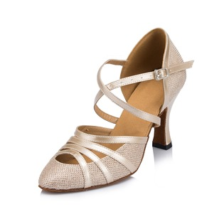 Women's Leatherette Heels Pumps Modern With Ankle Strap Dance Shoes (0535099581)
