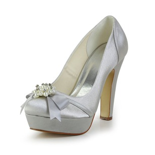 Women's Satin Stiletto Heel Closed Toe Platform Pumps With Pearl