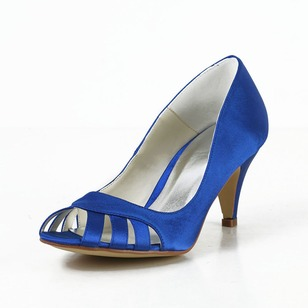 Women's Satin Stiletto Heel Peep Toe Pumps With Hollow-out