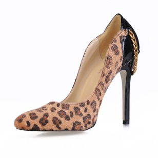 Suede Patent Leather Stiletto Heel Pumps Closed Toe With Animal Print shoes