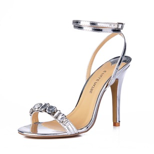 Leatherette Stiletto Heel Sandals Slingbacks With Rhinestone shoes