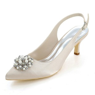 Women's Silk Like Satin Spool Heel Pumps With Flower