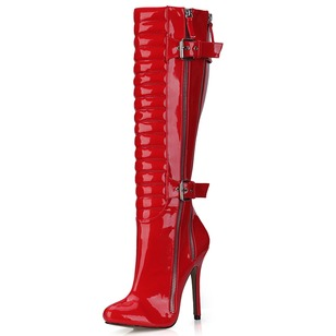 Patent Leather Stiletto Heel Closed Toe Boots Over The Knee Boots With Buckle Zipper shoes