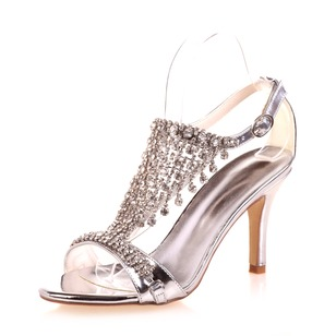 Women's Patent Leather Stiletto Heel Peep Toe Sandals With Beading Buckle