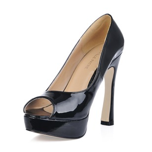 Patent Leather Chunky Heel Platform Peep Toe shoes