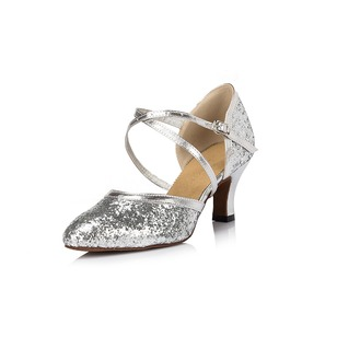 Women's Sparkling Glitter Heels Pumps Modern With Ankle Strap Sequin Dance Shoes