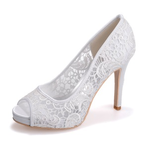 Women's Lace Stiletto Heel Peep Toe Platform Sandals (0475099545)