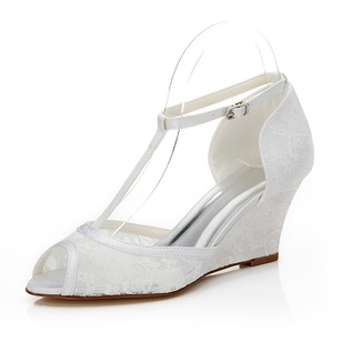 Women's Satin Wedge Heel Peep Toe Wedges With Buckle Stitching Lace