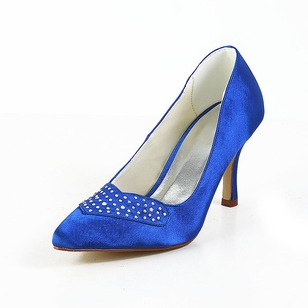 Women's Satin Closed Toe Pumps With Beading