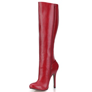 PU Stiletto Heel Closed Toe Boots Over The Knee Boots With Rivet Buckle Zipper shoes