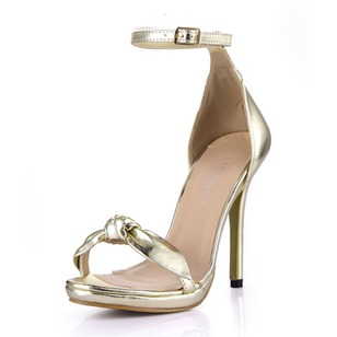 Patent Leather Stiletto Heel Sandals Peep Toe With Bowknot Buckle shoes