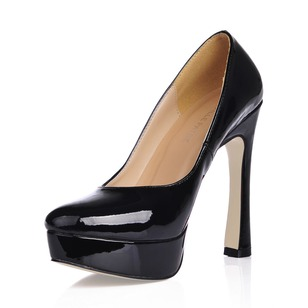 Patent Leather Chunky Heel Platform Closed Toe shoes