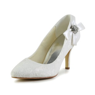 Women's Tulle Stiletto Heel Closed Toe Pumps With Bowknot Rhinestone