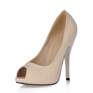 Leatherette Stiletto Heel Pumps Peep Toe shoes