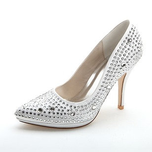 Women's Satin Stiletto Heel Closed Toe Pumps With Beading