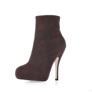 Suede Stiletto Heel Closed Toe Boots Ankle Boots With Zipper shoes