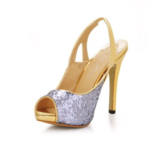 Sparkling Glitter Stiletto Heel Sandals Peep Toe Slingbacks With Sparkling Glitter shoes
