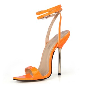 Patent Leather Stiletto Heel Sandals Slingbacks With Buckle shoes (0875100491)
