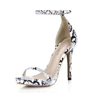 Leatherette Stiletto Heel Sandals Platform With Animal Print shoes
