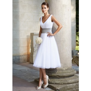 A-Line/Princess V-neck Tea-Length Tulle Wedding Dress With Ruffle Sash (0025095328)