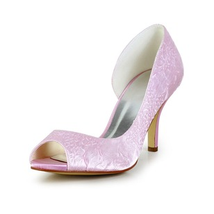 Women's Satin Stiletto Heel Peep Toe Pumps