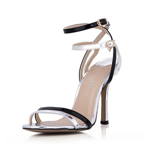 Leatherette Patent Leather Stiletto Heel Sandals Pumps Peep Toe Slingbacks With Buckle shoes (0875100563)