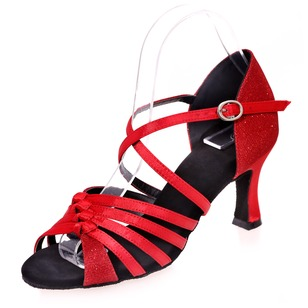 Women's Leatherette Fabric Heels Sandals Latin With Ankle Strap Dance Shoes