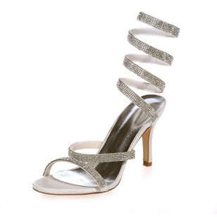 Women's Satin Stiletto Heel Sandals Slingbacks With Beading
