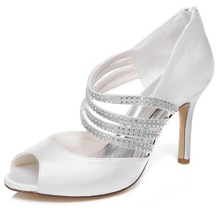 Women's Satin Stiletto Heel Peep Toe Sandals With Zipper (0475119124)