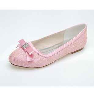 Women's Lace Flat Heel Flats With Bowknot