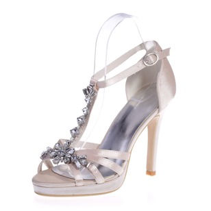 Women's Satin Stiletto Heel Peep Toe Platform Sandals With Buckle Rhinestone (0475100391)