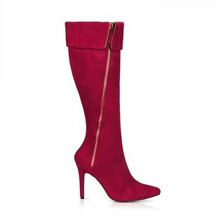Suede Stiletto Heel Knee High Boots With Zipper shoes
