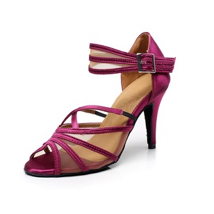 Women's Satin Heels Sandals Latin Tango With Ankle Strap Dance Shoes