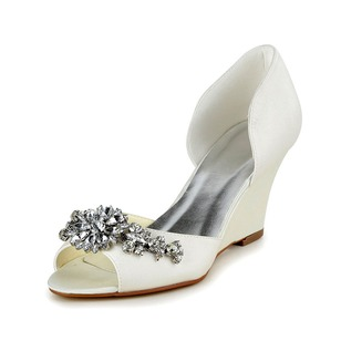 Women's Satin Wedge Heel Peep Toe Wedges With Rhinestone